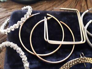 Bundle X 5 Big Hoops Earrings Hammered Rhinestones Square Pierced Ears