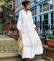 Women's White Cotton Long Sleeve Bohemia Style Loose Dress Holiday Beach Skirt