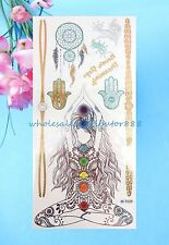 yogi hamsa dreamcatcher metallic flash temporary tattoo finger hand ankle