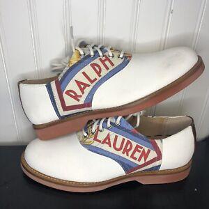 Sz 7 D Polo Ralph Lauren Rhett Saddle Shoe - White Suede Oxfords - Men's New