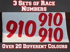 "3 Sets 4"" Motocross Race Numbers Vinyl Stickers MX Track Bike Kart N14 100mm"