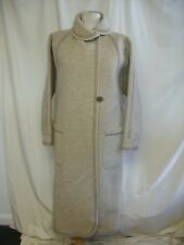 """Ladies Coat Baccarat UK 10, bust 32"""", long, beige wool (?) & suede trims 2358"""