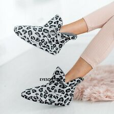 LADIES ANKLE BOOTIE BOOT INDOOR WOMENS LEAOPARD PRINT WARM WINTER SLIPPERS SIZE