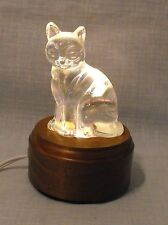 """Vintage Carnival Iridescent  Glass Sitting Cat Paperweight Figurine  3.75"""" tall"""