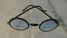 Vintage Antique Black Round Frame Eyeglasses Blue Tinted Bi Focal Lenses Stoco
