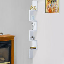 Homcom 5 Tiers Home Decor Corner Floating Display Shelf Wall Mount MDF Wood White