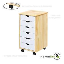 Caisson de bureau à 6 tiroirs vernis naturel et blanc