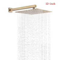 Brushed Gold 12-inch Square Rain Shower Head Top Spray With Extension Shower Arm