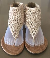 NEW Beige Woven Fabric & Cork Sole OBSESSED Flat Open Toe Sandals Size 8