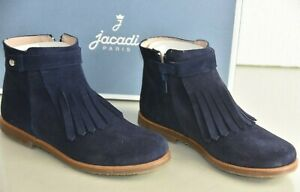 NEW Jacadi LOLA Fringe Suede Navy Blue Boots Girls Shoes Booties  34 35