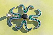 Turquoise Inlay Pendant, 20.7 grams Mexico 925 Sterling Silver Onyx and