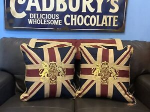 Royal Crest Vintage Union Jack Pair Of Cushions By Woven Magic (T Dyed 18x18 In