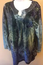 Style and Co top petite size large PL Peasant Top crushed velvet material #120