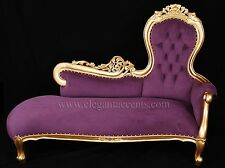 French Rose Sofa Chaise Lounge - Gold Finish with Purple Fabric