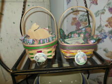 Longaberger 1998 & 1999 Small Easter Basket Sets w/Tie-ons Plus Small Bowl