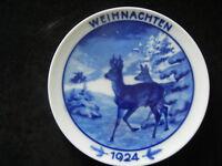 Rosenthal Weihnachtsteller 1924 Rehe am Waldrand - T. Kärner (meine Nr. 1924-4)