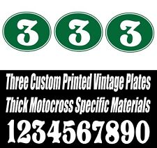 SET OF 3 GREEN and WHITE VINTAGE MOTOCROSS CUSTOM PRINTED OVAL NUMBER PLATE