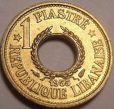 Rare Gem Unc Lebanon 1955-A Piastre~Only Year Ever Minted~Free Shipping