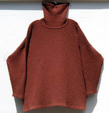 Eskandar Bergdorf Goodman RUST 100% Cashmere Cable Knit Turtle Neck O/S $1890