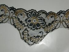"""Black gold lace trimming scalloped edges embroidered trim 3 1/2"""" X by the yard"""