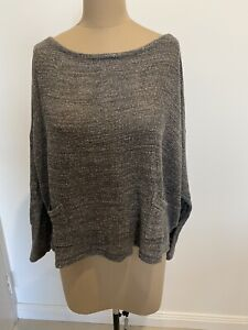 Eileen Fisher Cropped Grey Knit Jumper Size XL