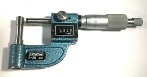 Fowler 52-510-101 Rolling Digital Tube Micrometer, 0-25mm Range, 0.001mm