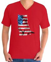 USA Flag Cat Men's V-neck T shirt Tops Cute 4th of July Gift American Flag