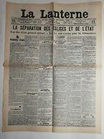 N213 La Une Du Journal La lanterne 5 juillet 1905 la séparation église et état