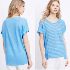 [ VINCE ] Womens Blue Striped Linen Top  | Size XS or AU 8 / US 4