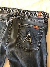 "Seven For All Mankind Jeans ""A"" POCKET Size 28 inseam 29 distressed no hem"