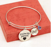 Women Bracelet Letter Engraved Inspirational Letter Cuff Bangle Chain Jewelry LE