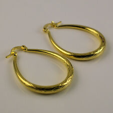 14K Yellow Gold Plated Patterned Textured Oval Hoop Earrings UK Gift Idea 133