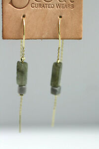 Scout Curated Wears Labrodite Rectangle Stone Thread EARRINGS hooks gold plated