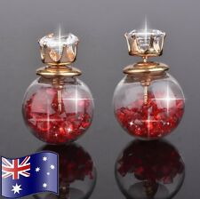 Red Crystal Filled Double Sided Ball Glass Orb CZ Gold Stud Earrings Gift