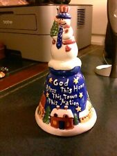 Snowman Patriotic Christmas Bell