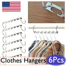 6Pcs Metal Space Saver Saving Wonder Magic Hanger Clothes Closet Organize Hook
