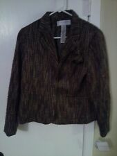 NEW Sag Harbor Novelty size 10P Petite Grey acrylic blazer with pockets jacket