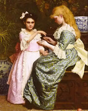 Oil painting maria matilda Brooks - cats cradle nice young sisters girl canvas