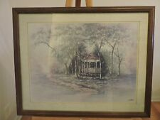 Vintage Joe Sambataro Gazebo in Springtime Print - framed & matted under glass