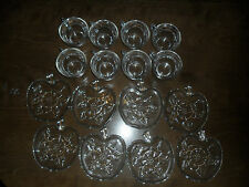 8 VINTAGE ORCHARD CRYSTAL CUPS APPLE PATTERN SHAPE SAUCERS Hazel-Atlas TEA TOAST