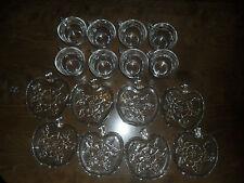 8 VINTAGE ORCHARD CRYSTAL CUPS APPLE PATTERN SHAPE SAUCERS Hazel-Atlas TEA TOAST