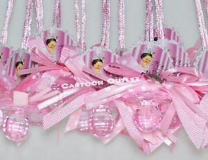12 PRINCESS PACIFIER NECKLACE PINK BABY SHOWER FAVOR PRIZE Niña RECUERDOS GIRL