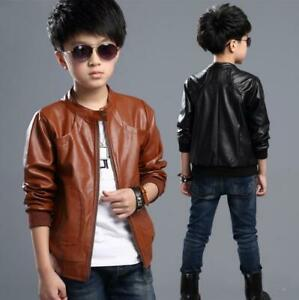 New Spring/ Fall Boys Faux Leather Jacket Kids children PU Casual Coat overcoat