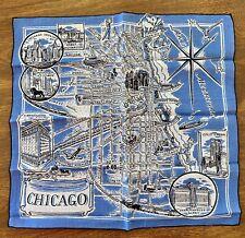 Vintage Souvenir Chicago map hankie handkerchief. Excellent condition.