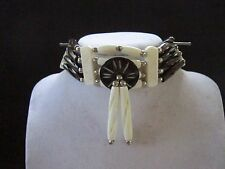 BLACK & WHITE CHOKER BUFFALO BONE JEWELRY NECKLACE  REGALIA POW WOW TRIBAL