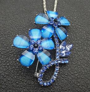 Betsey Johnson Green/Blue/Purple Crystal Flower Pendant Sweater Necklace/Brooch
