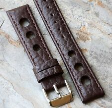 Brown textured calf grain 18mm leather racing watch band with big holes 9 sold