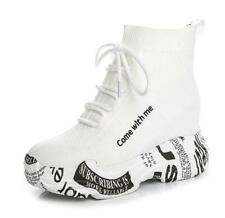 Womens Stretchy Sock Ankle Boots Platform Hiden Wedge Heel Athletic Shoes Casual