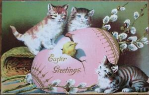 Easter 1910 Postcard: Cats/Kittens & Giant Egg w/Chick - Embossed, Color Litho
