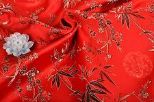 "1/2 YD. 28"" ORIENTAL SILK DAMASK JACQUARD SATIN FABRIC: CHINESE PLUM & BAMBOO ="